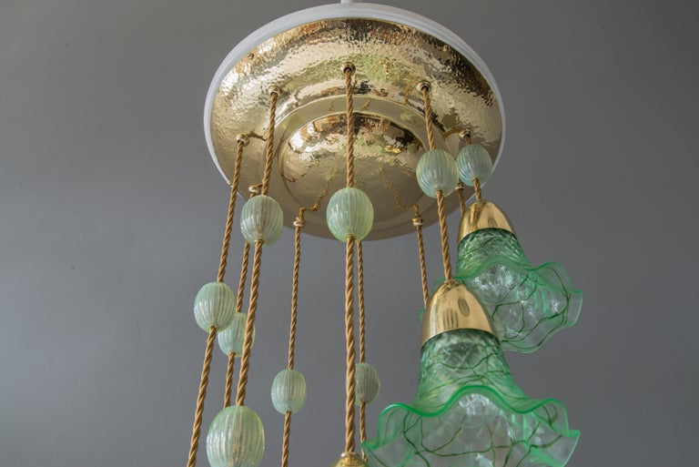 Early 20th Century Jugendstil Chandelier Vienna circa 1910s with Original Palme König Glass Shade For Sale