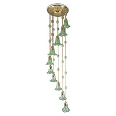 Jugendstil Chandelier Vienna circa 1910s with Original Palme König Glass Shade