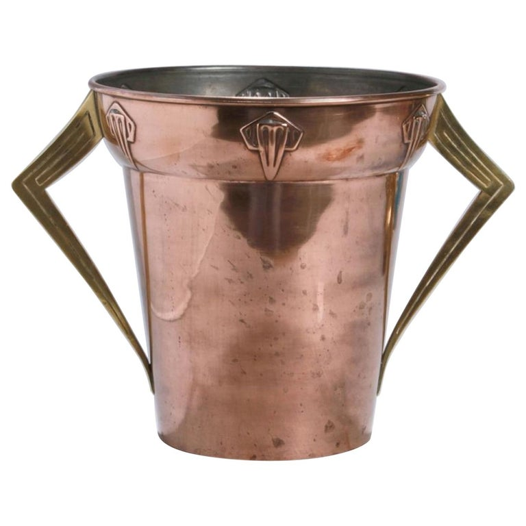 Jugendstil Copper and Brass Ice Container, Germany, 1910s For Sale