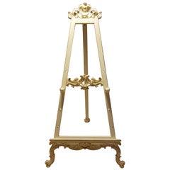 Jugendstil Easel in White and Gold, Adjustable