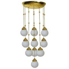 Jugendstil Josef Hoffmann & Wiener Werkstätte Ceiling Light with Opaline Bulbs