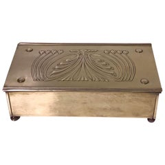 Jugendstil Nouveau Secessionist Brass Box Carl Deffner Germany, circa 1910