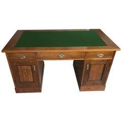 Jugendstil Oak Wood Desk with Metal Handles