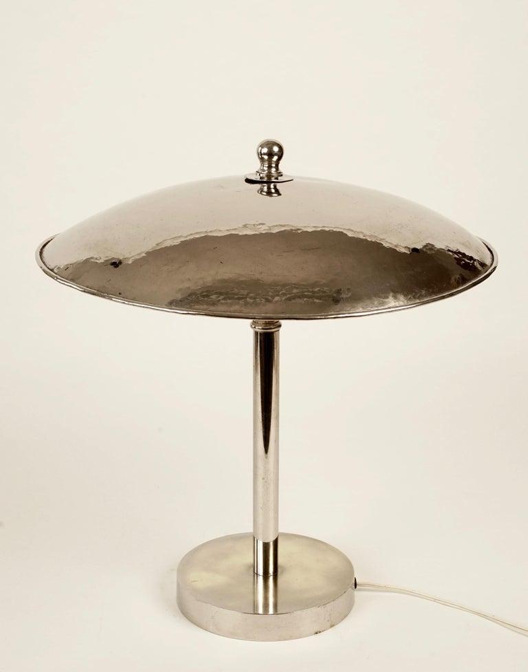 Nickel Jugendstil Table Lamp in Influences from Josef Hoffmann For Sale