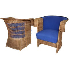 Jugendstil Vintage Rattan Armchairs or Club Chairs by Hans Vollmer, Vienna