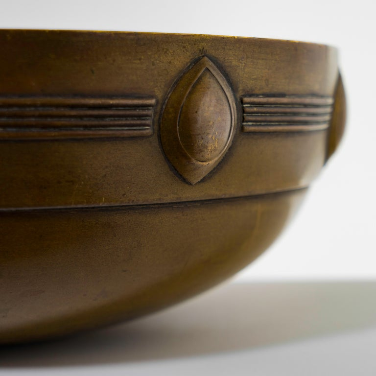Metal bowl designed by the German architect and designer Albin Camillo Muller (1871-1941), manufactured in brass by WMF (Württembergische Metallwarenfabrik, no hallmark visible) a German producer of household metal ware, created, circa 1880. By 1900
