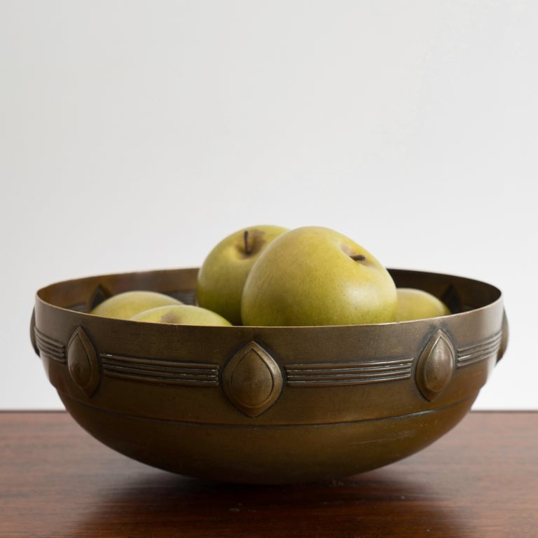 Austrian Jugendstil Brass Bowl Designed by Albin Mueller for WMF For Sale