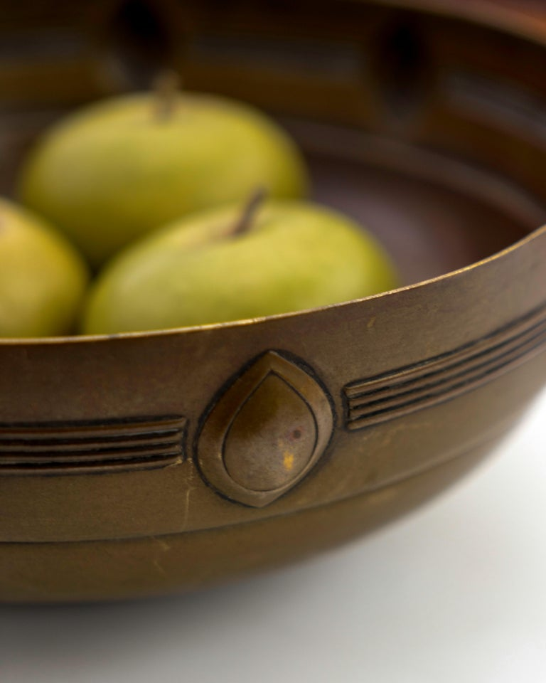 Molded Jugendstil Brass Bowl Designed by Albin Mueller for WMF For Sale