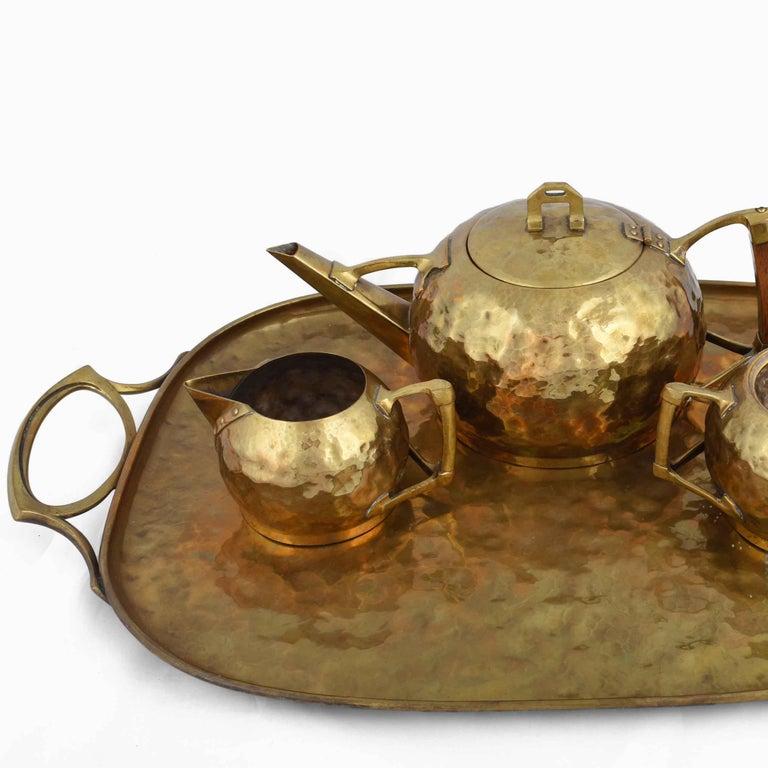 Jugendstil Jugenstil Brass Centrepiece / Teaset with Tray by Carl Deffner, Germany, 1910s For Sale