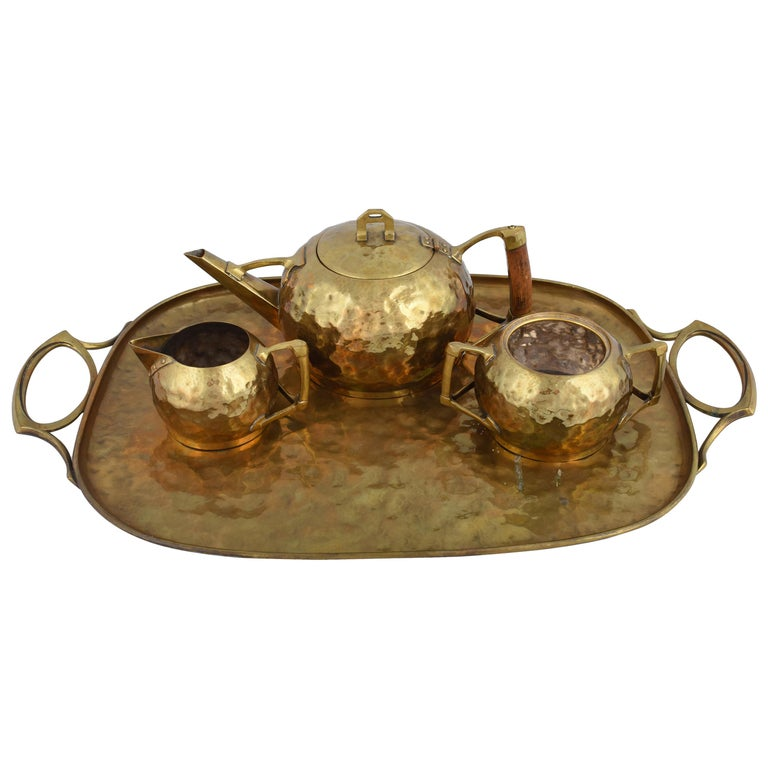 Jugenstil Brass Centrepiece / Teaset with Tray by Carl Deffner, Germany, 1910s For Sale