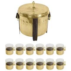 Jugenstil Wiener Werkstaette Art Deco Punch Bowl and 12 Matching Glasses