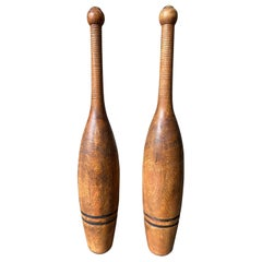 Juggling Pin Pair of Hand Turned Wooden with Brass Cap
