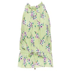 JUICY COUTURE 100% light green floral ruffle collar drawstring vest top S