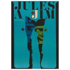 Jules und Jim Czech Film Movie Poster, Karel Vaca, 1967 Vintage Selten