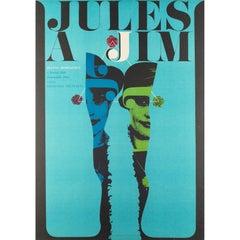 Jules and Jim Czech Film Movie Poster, Karel Vaca, 1967 Vintage Rare