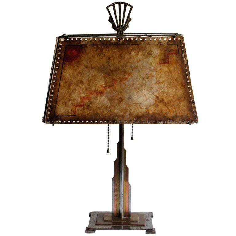 Jules Bouy Multi-Metal Art Deco Machine Age Table Lamp