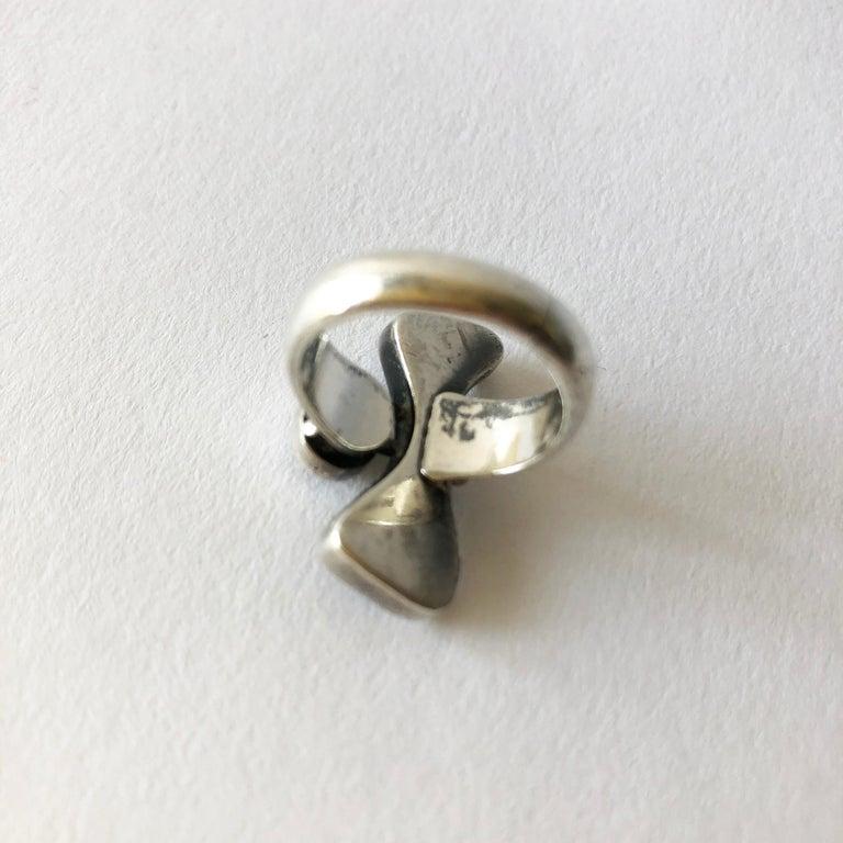 Cabochon Jules Brenner Sterling Silver Garnet American Modernist Ring For Sale