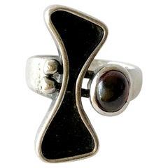 Jules Brenner Sterling Silver Garnet American Modernist Ring