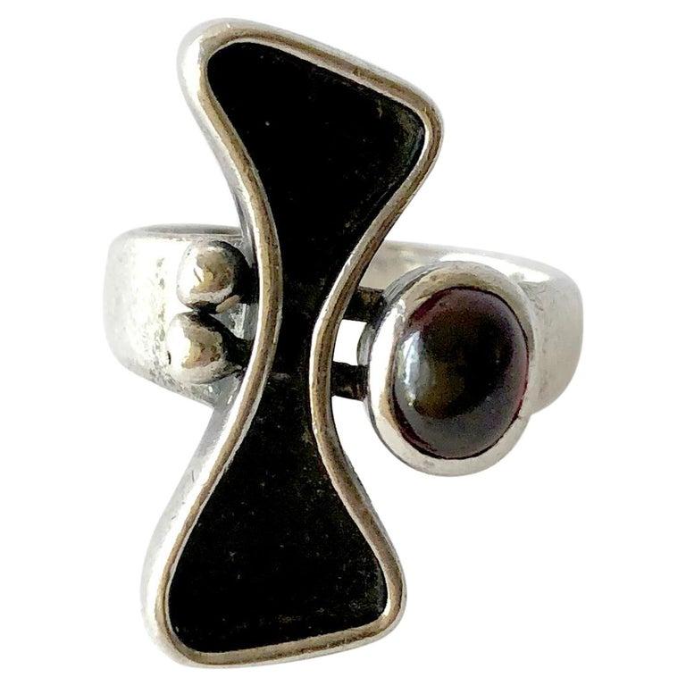 Jules Brenner Sterling Silver Garnet American Modernist Ring For Sale