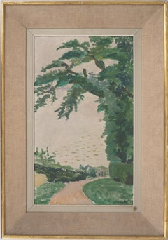 Normandy, Countryside Road - Original Oil on canvas, Signed