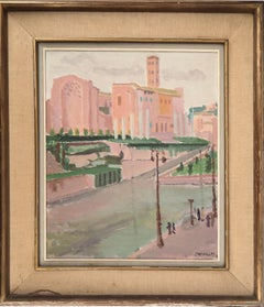 Rome, The Forum Seen From the Colosseum - Original Oil on canvas, Signed