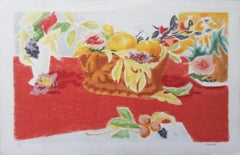 Fruits and Flowers on Red Background - Original lithograph, Handsigned