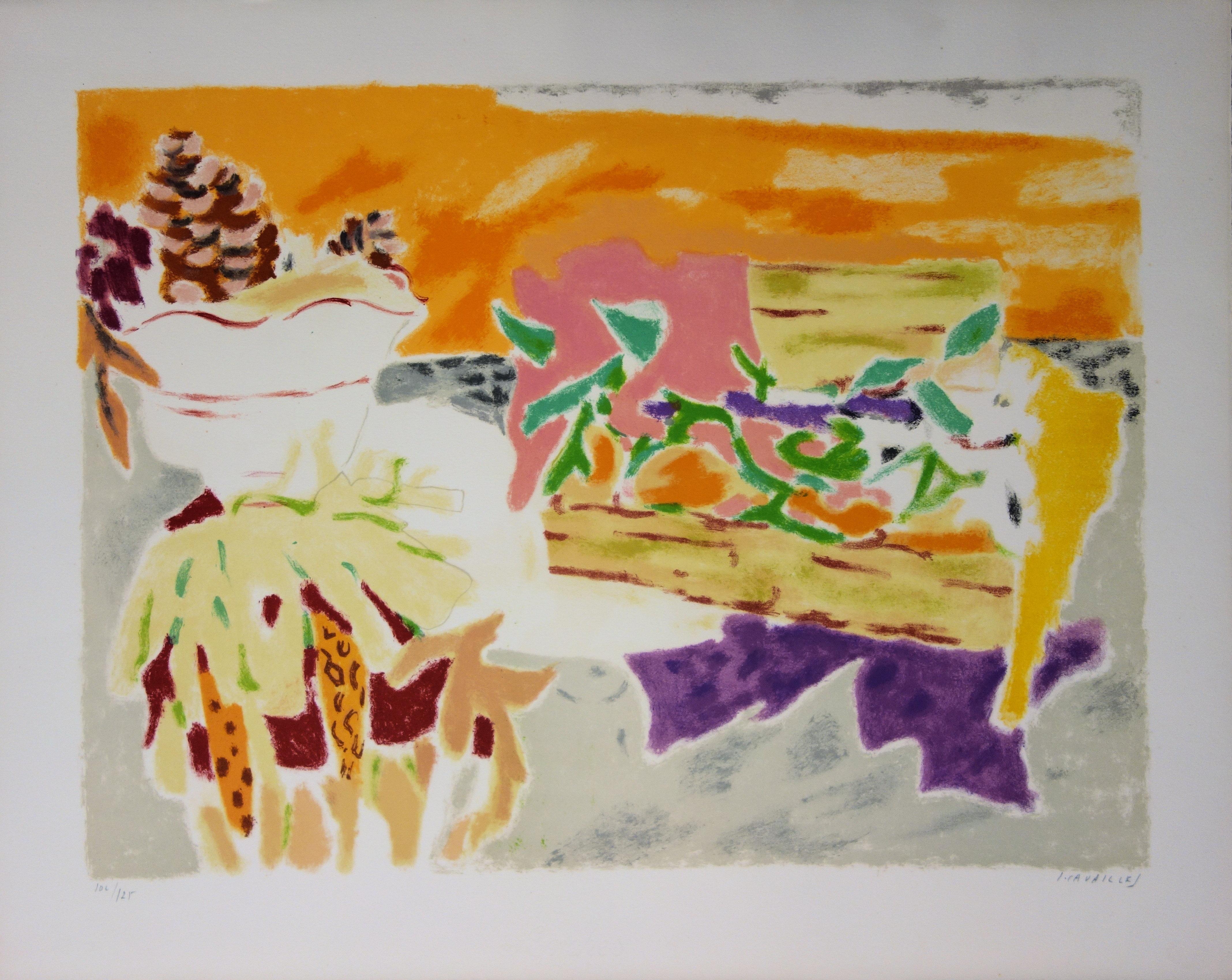 Fruits and Pine Cones - Original lithograph, Handsigned