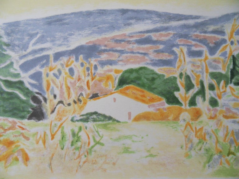 Landscape in Provence : The Old House - Original lithograph, Handsigned - Print by Jules Cavailles
