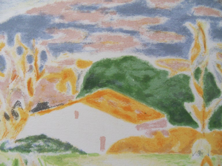 Landscape in Provence : The Old House - Original lithograph, Handsigned - Post-Impressionist Print by Jules Cavailles