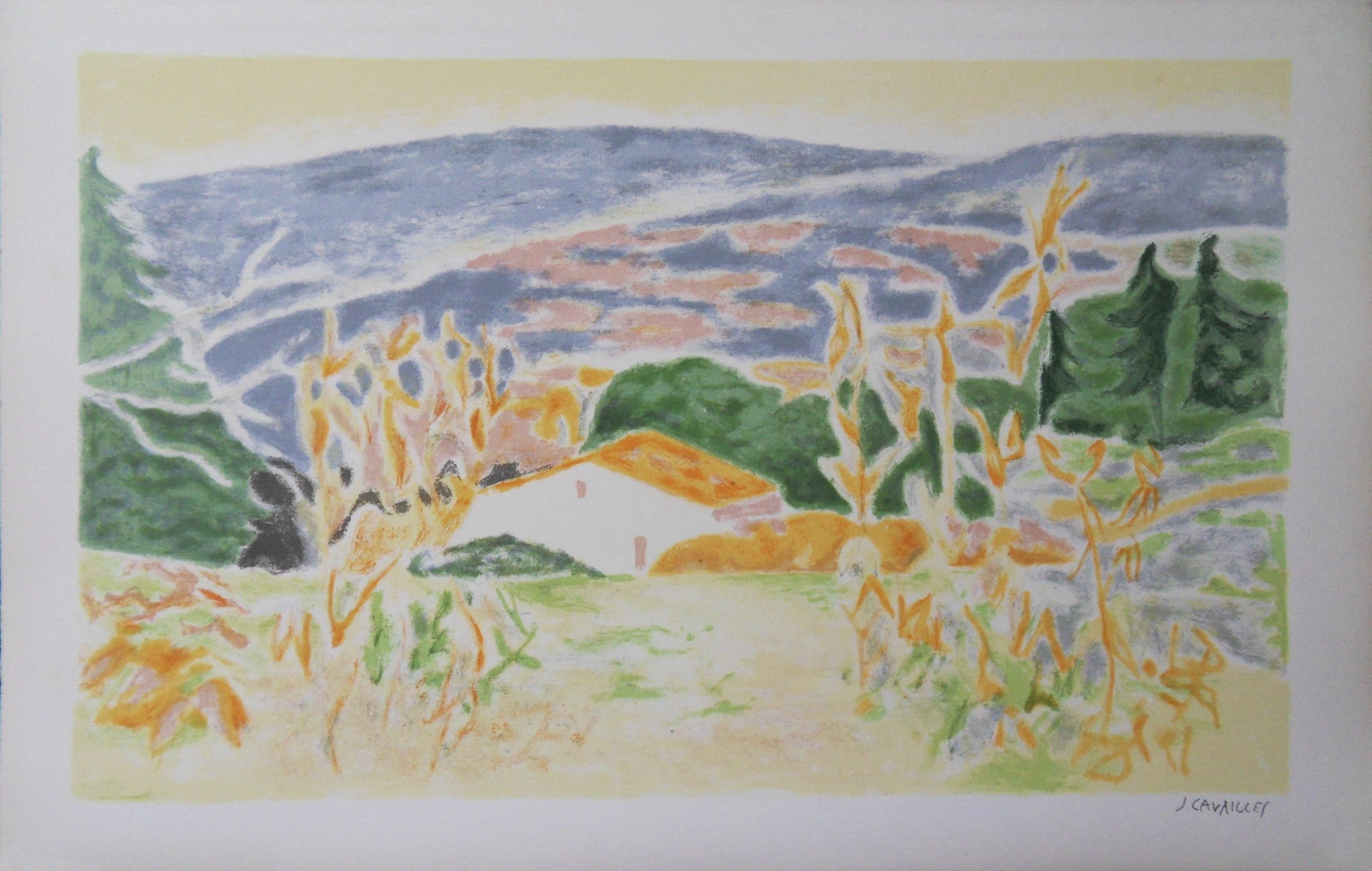 Landscape in Provence : The Old House - Original lithograph, Handsigned