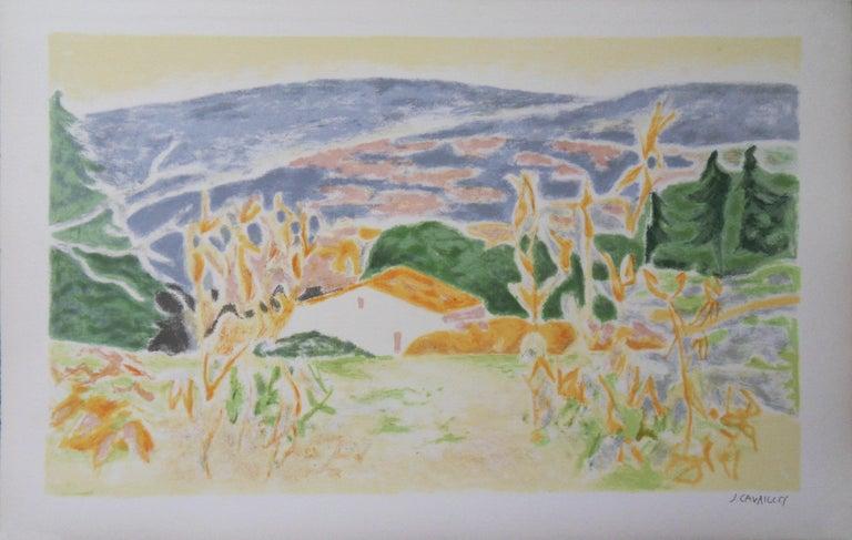 Jules Cavailles Landscape Print - Landscape in Provence : The Old House - Original lithograph, Handsigned