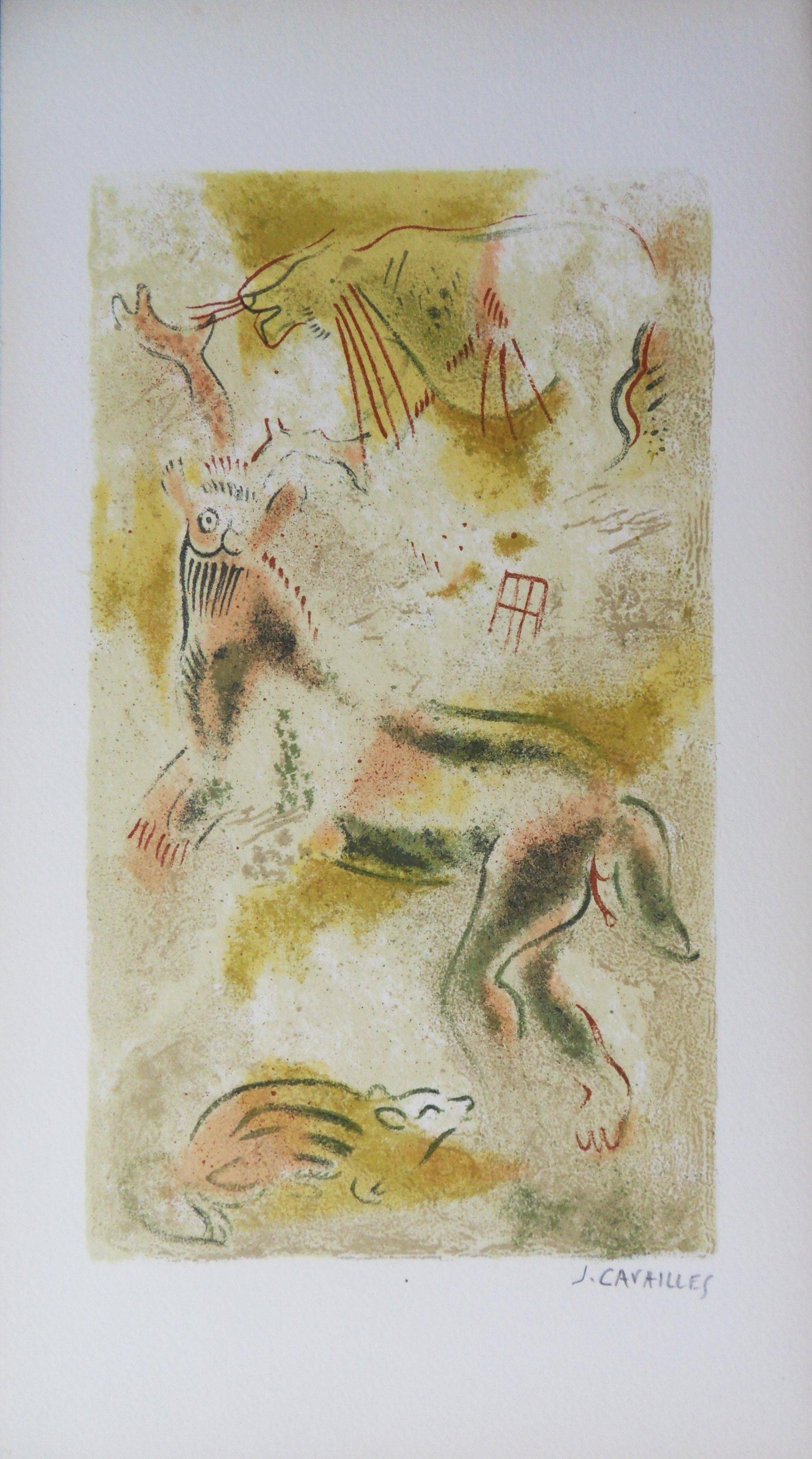Rupestral Painting - Original lithograph, Handsigned