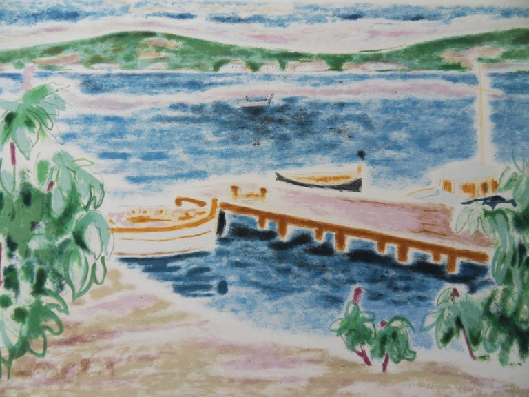 Switzerland : View on the Lake - Original lithograph, Handsigned - Print by Jules Cavailles
