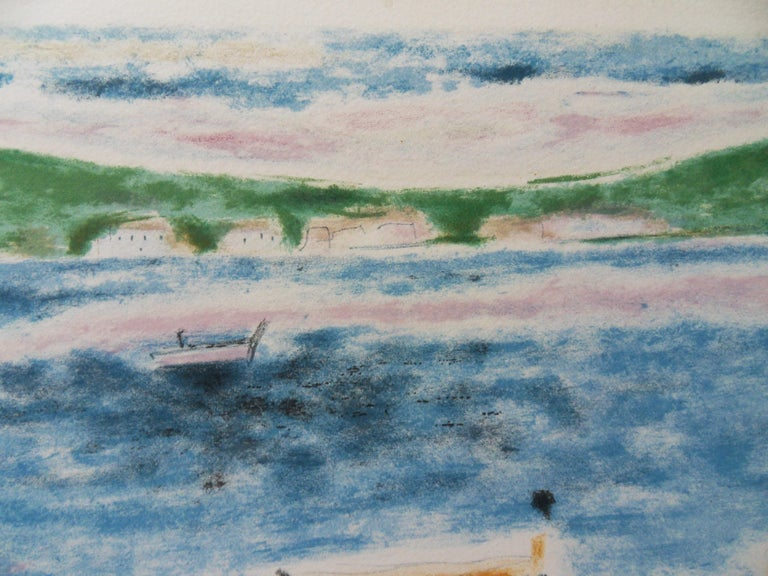Switzerland : View on the Lake - Original lithograph, Handsigned - Post-Impressionist Print by Jules Cavailles