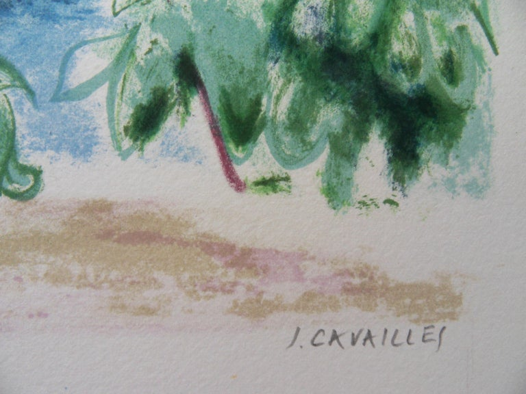 Jules CAVAILLES Switzerland : View on the Lake  Original lithograph Handsigned in pencil Justified EA (artist proof) On vellum 36 x 56 cm (c. 14 x 22 in)  Very good condition