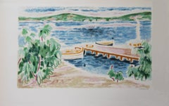 Switzerland : View on the Lake - Original lithograph, Handsigned