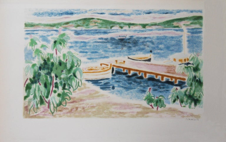Jules Cavailles Landscape Print - Switzerland : View on the Lake - Original lithograph, Handsigned