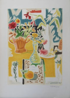 Table with Flowers - Original lithograph, Handsigned