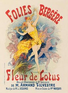 Folies Bergère: Fleur de Lotus by Jules Chéret, Belle Époque lithograph, 1896