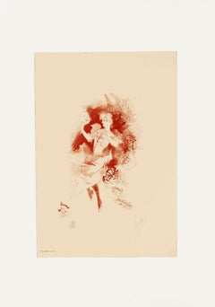 Girl with Mask - Original Lithograph by Jules Chéret - 1890s