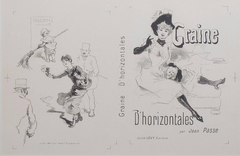 """""""Graine d'Horizontales"""" is an original black and white lithograph by Jules Cheret. It depicts a woman with an animal on her left next to a page of everyday people.   8"""" x 11 1/2"""" image 10 7/8"""" x 17 1/8"""" paper 17"""" x 21 1/4"""" frame  Jules Chéret  was"""