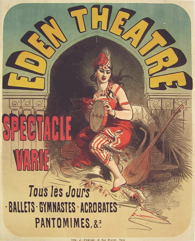 "Original Antique French Poster, ""Eden Theatre"", Jules Cheret, Lithograph"