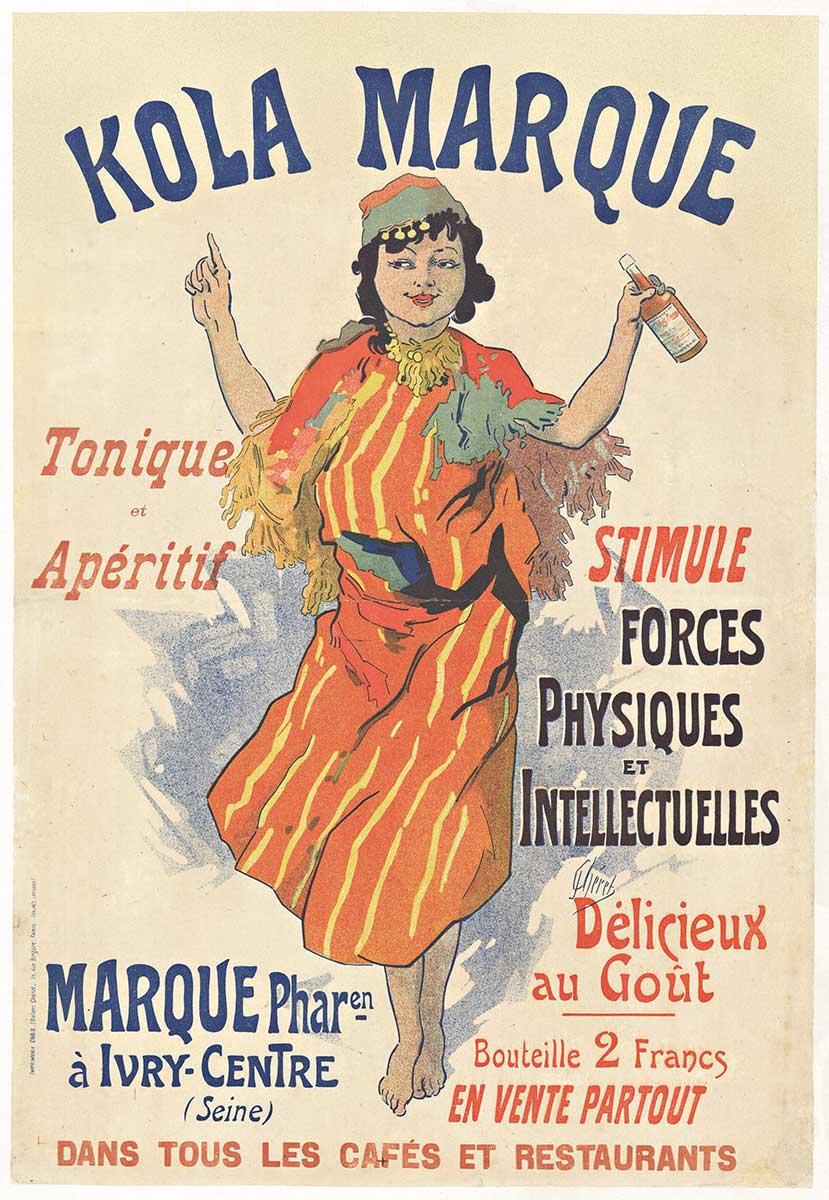 Original Kola Marque, 1895 vintage French liquor poster by Jules Cheret