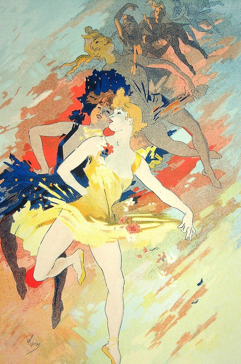 Jules Chéret The Dance, 1900  Orignal Lithograph Printed signature in the plate On vellum  Size 39 x 29 cm (c. 15.3 x 11.4