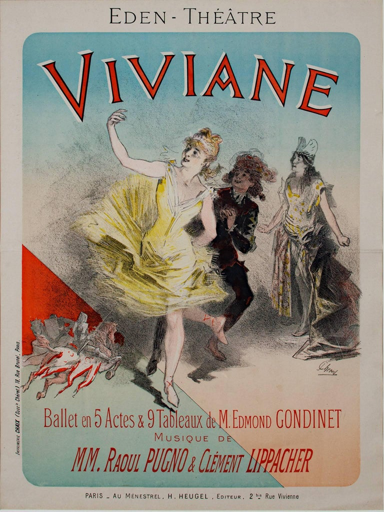 """""""Viviane, Maindron"""" is an original color lithograph by Jules Cheret. It is an advertisement for a five-act ballet from 1886. It depicts a performer in a yellow dress with other dancers.   31 5/8"""" x 23 3/4"""" art 37 1/2"""" x 29 5/8"""" frame  Jules Chéret"""