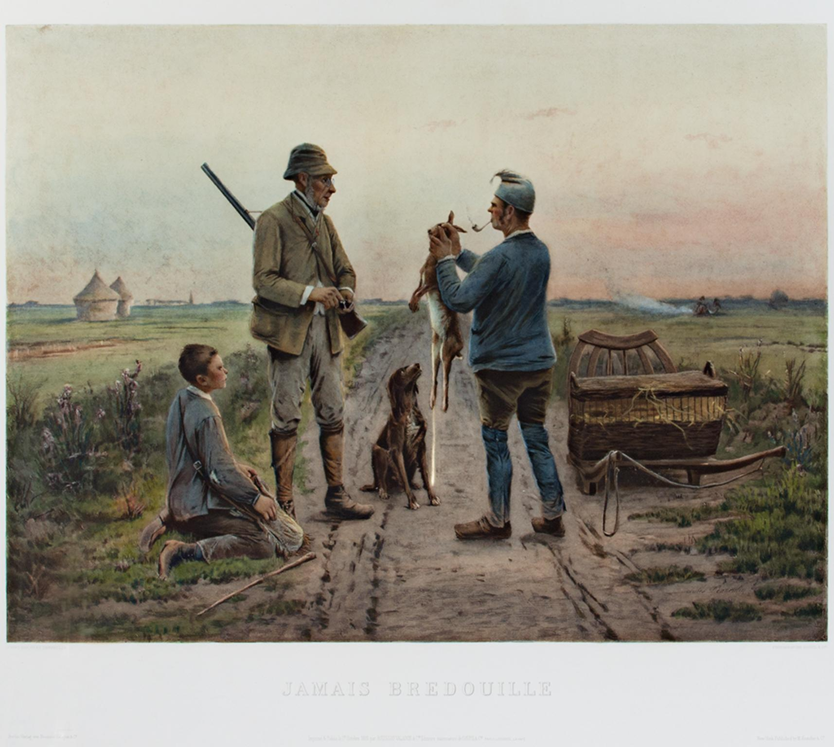 """""""Jamais Bredouille (Never Empty-handed)"""" Color Lithograph after Jules Denneulin"""