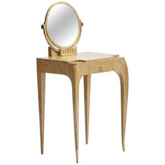 Jules Deroubaix Art Deco Vanity in Burled Elm and Gilt Bronze France, circa 1935
