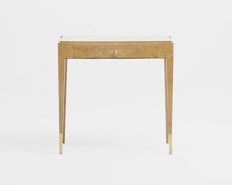 Burled elm, original gilt bronze sabots.  Jules Deroubaix was the best craftsman of Jacques-Emile Ruhlmann. The pieces made after Ruhlmann's passing are often reminiscent of Ruhlmann's designs and often bear his attributes. Our desk, together with