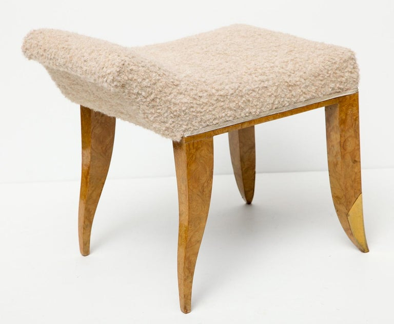 Art Deco Jules Deroubaix, Stool in Burled Elm, Gilt Bronze, and Shearling, France For Sale