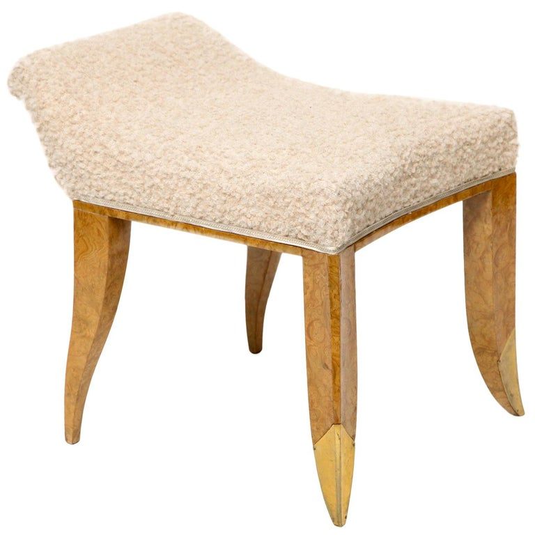 Jules Deroubaix, Stool in Burled Elm, Gilt Bronze, and Shearling, France For Sale